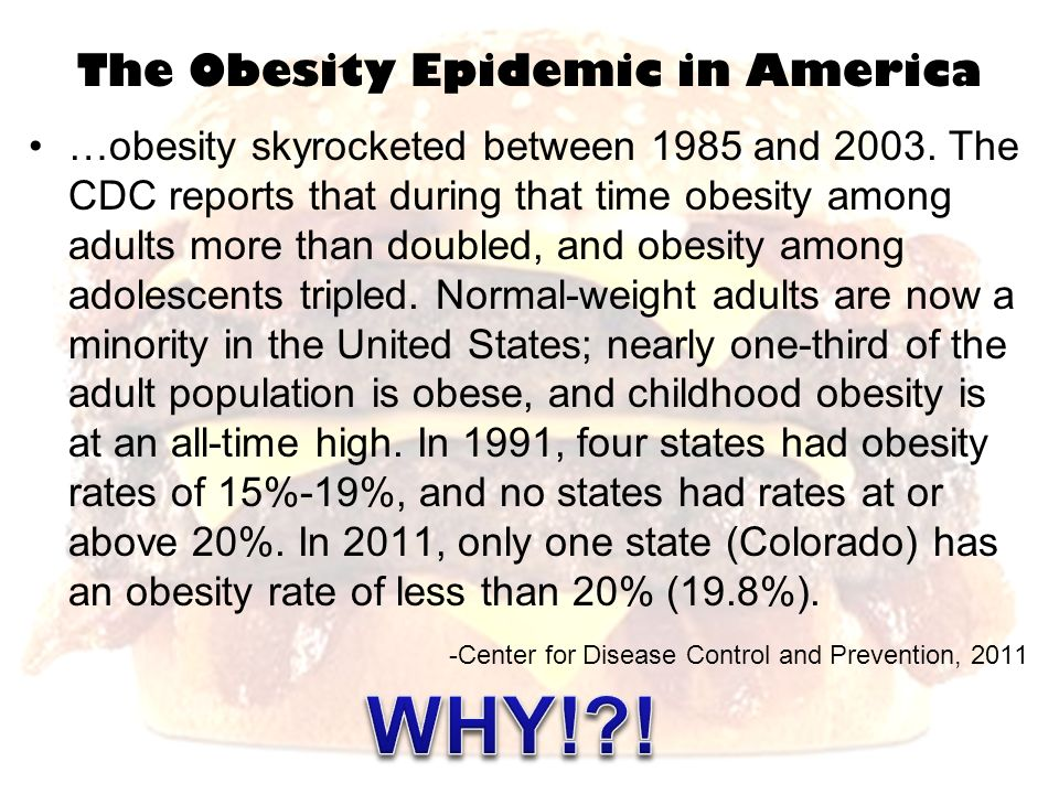 The Obesity Epidemic in America …obesity skyrocketed between 1985 and 2003. The CDC reports that during that time obesity among adults more than doubl
