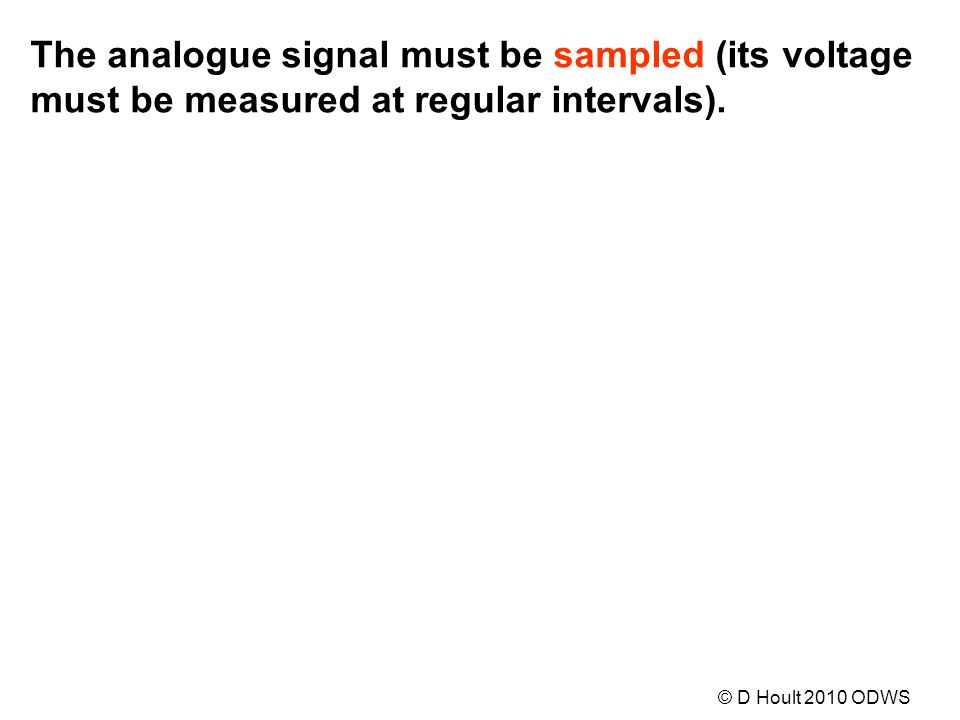 The analogue signal must be sampled (its voltage must be measured at regular intervals).