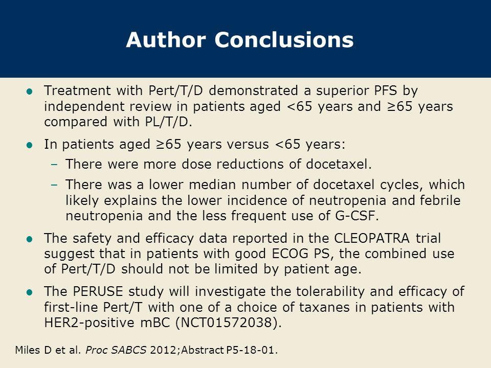 Author Conclusions Treatment with Pert/T/D demonstrated a superior PFS by independent review in patients aged <65 years and 65 years compared with PL/