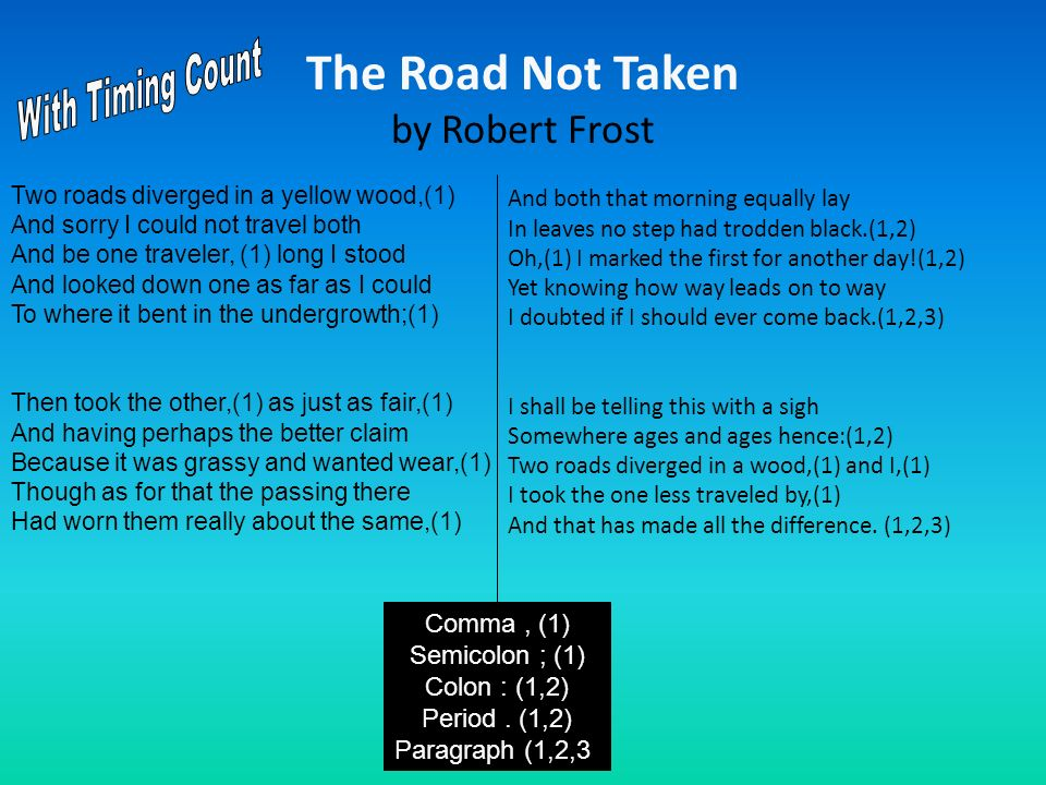 The Road Not Taken by Robert Frost And both that morning equally lay In leaves no step had trodden black.(1,2) Oh,(1) I marked the first for another d