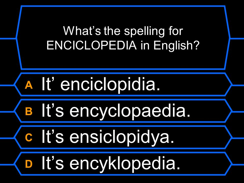 Whats the spelling for ENCICLOPEDIA in English