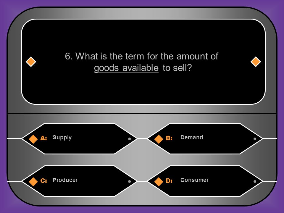 A:B: SupplyDemand 6. What is the term for the amount of goods available to sell.