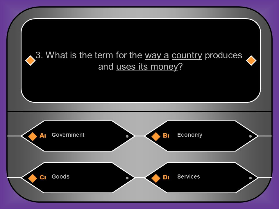 A:B: GovernmentEconomy 3. What is the term for the way a country produces and uses its money.