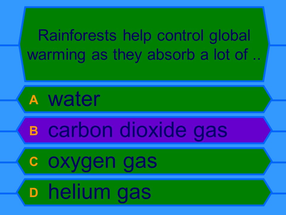 Rainforests help control global warming as they absorb a lot of.. A water B carbon dioxide gas C oxygen gas D helium gas