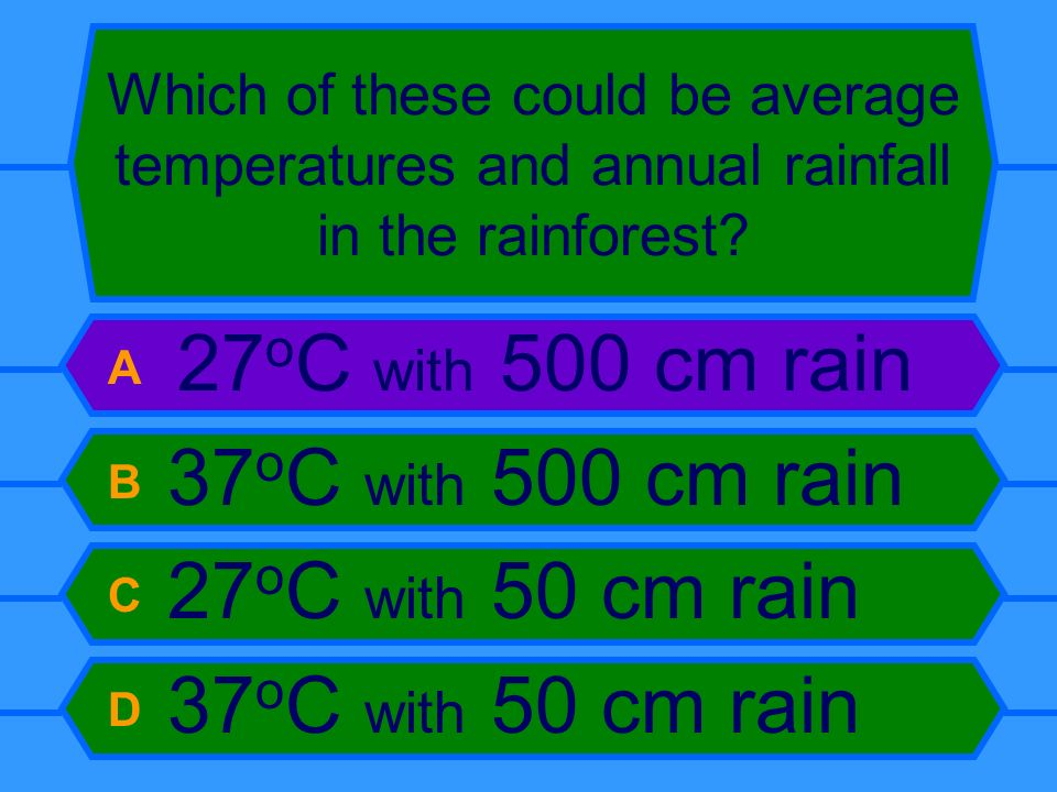 Which of these could be average temperatures and annual rainfall in the rainforest? A 27 o C with 500 cm rain B 37 o C with 500 cm rain C 27 o C with