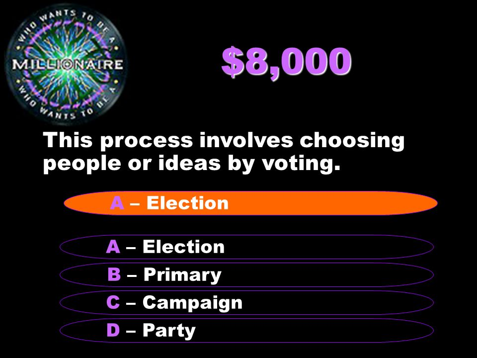 $8,000 This process involves choosing people or ideas by voting.