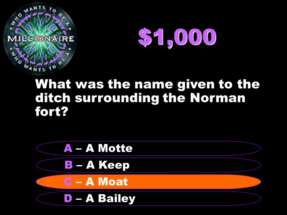 $1,000 What was the name given to the ditch surrounding the Norman fort.
