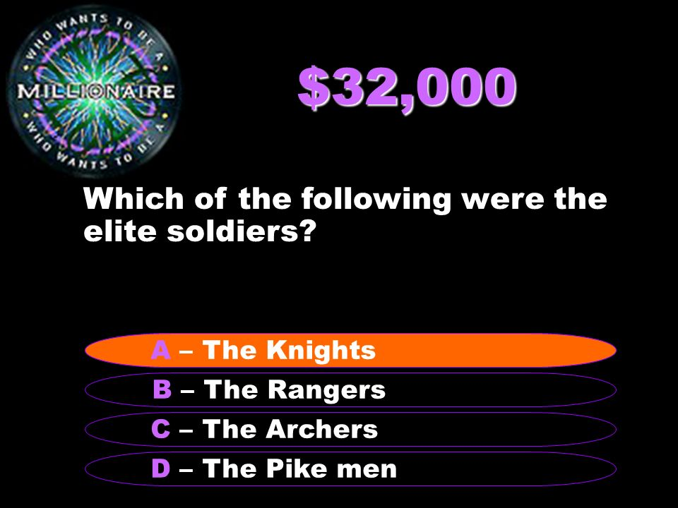 $32,000 Which of the following were the elite soldiers.