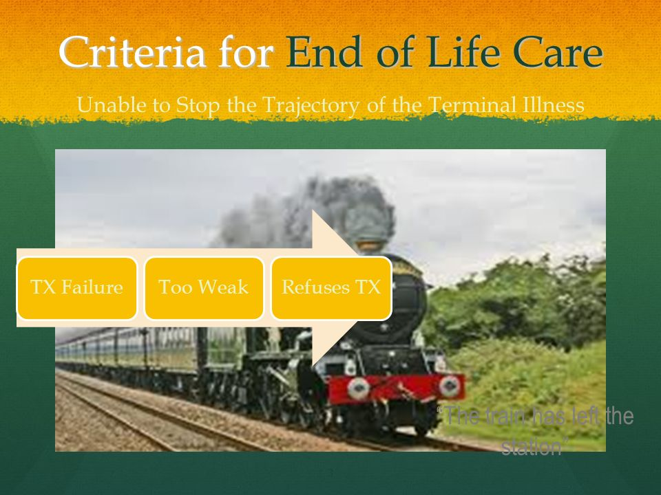 Criteria for End of Life Care 3 TX FailureToo WeakRefuses TX Unable to Stop the Trajectory of the Terminal Illness The train has left the station