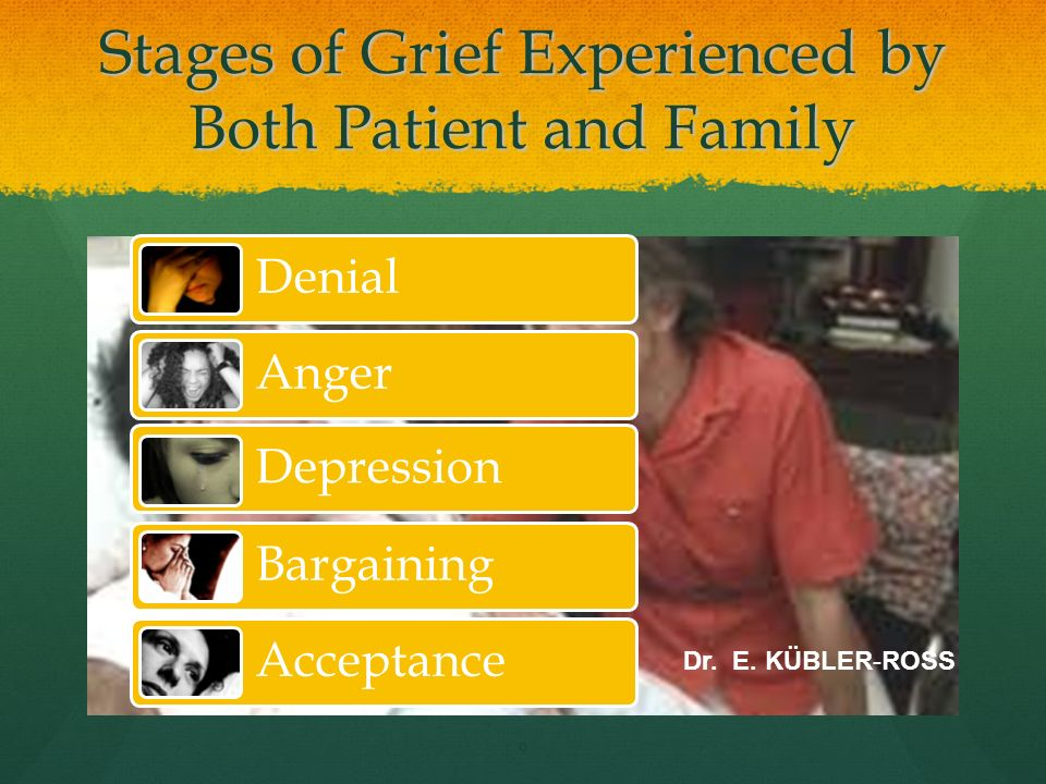 Family Dynamics Importance of advanced directives done by patient Importance of advanced directives done by patient Death of a loved one is hard, but it can be healing event Death of a loved one is hard, but it can be healing event It is important for healthcare staff to identify where patients and family are in the grieving process It is important for healthcare staff to identify where patients and family are in the grieving process The heavy stress of a dying loved one widens the cracks in the family dynamics The heavy stress of a dying loved one widens the cracks in the family dynamics 10