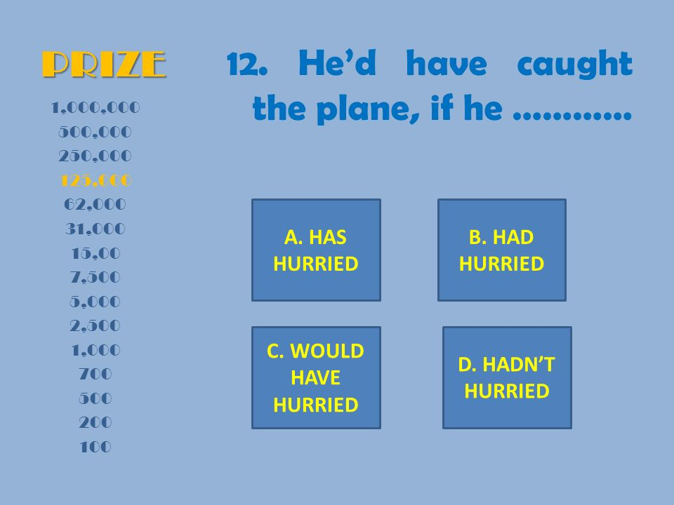 PRIZE 12. Hed have caught the plane, if he ………… 1,000,000 500,000 250,000 125,000 62,000 31,000 15,00 7,500 5,000 2,500 1,000 700 500 200 100 A. HAS H