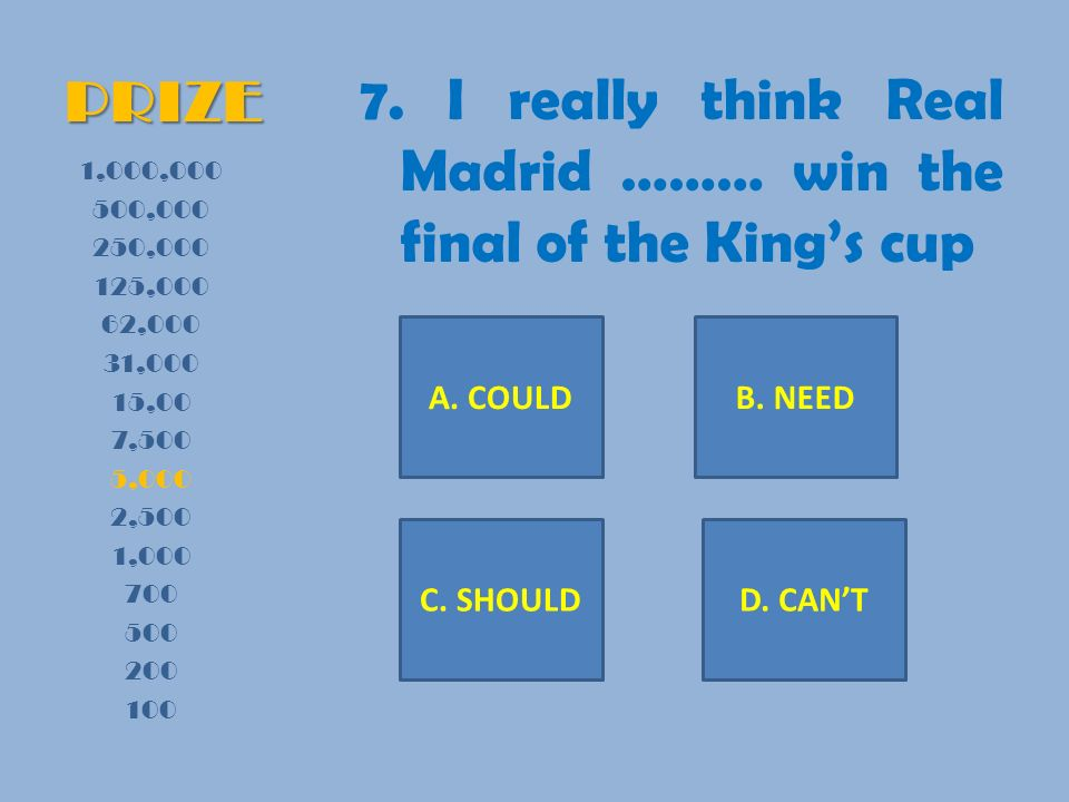 PRIZE 7. I really think Real Madrid ……… win the final of the Kings cup 1,000,000 500,000 250,000 125,000 62,000 31,000 15,00 7,500 5,000 2,500 1,000 7