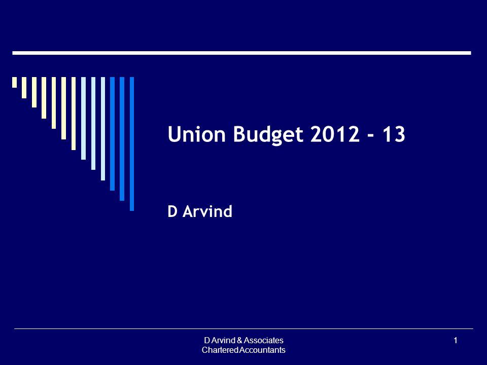 Union Budget 2012 - 13 D Arvind D Arvind & Associates Chartered Accountants 1