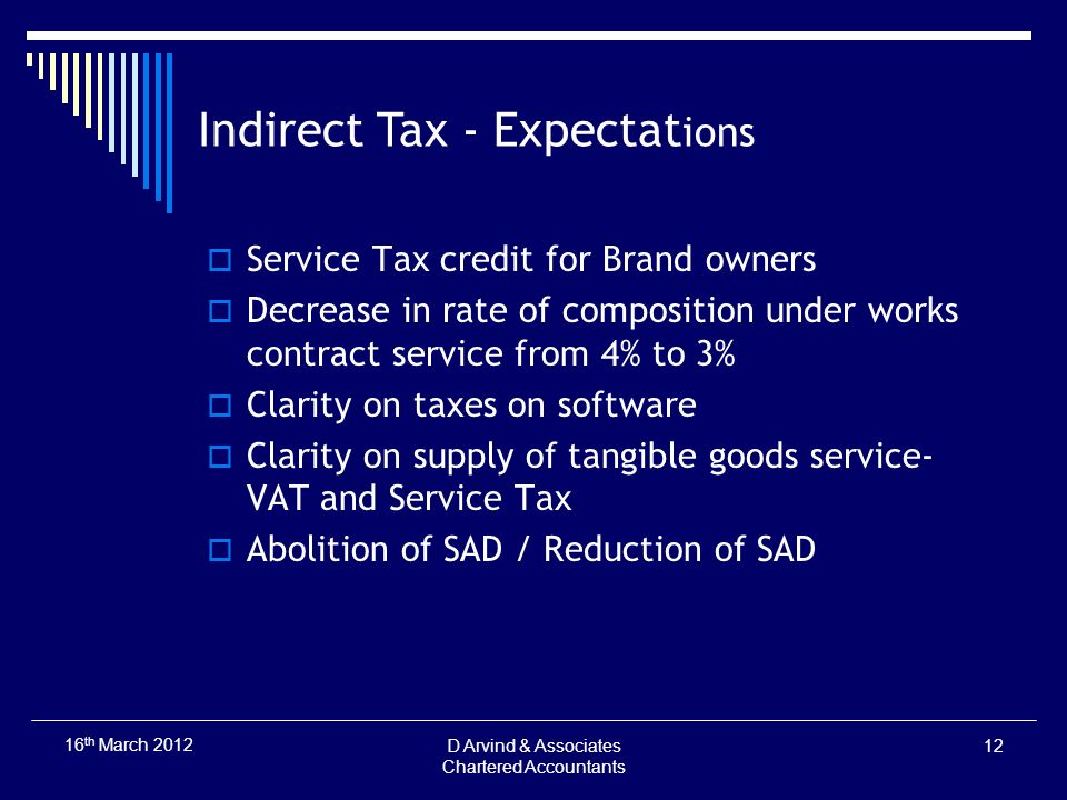 Indirect Tax - Expectat ions Service Tax credit for Brand owners Decrease in rate of composition under works contract service from 4% to 3% Clarity on