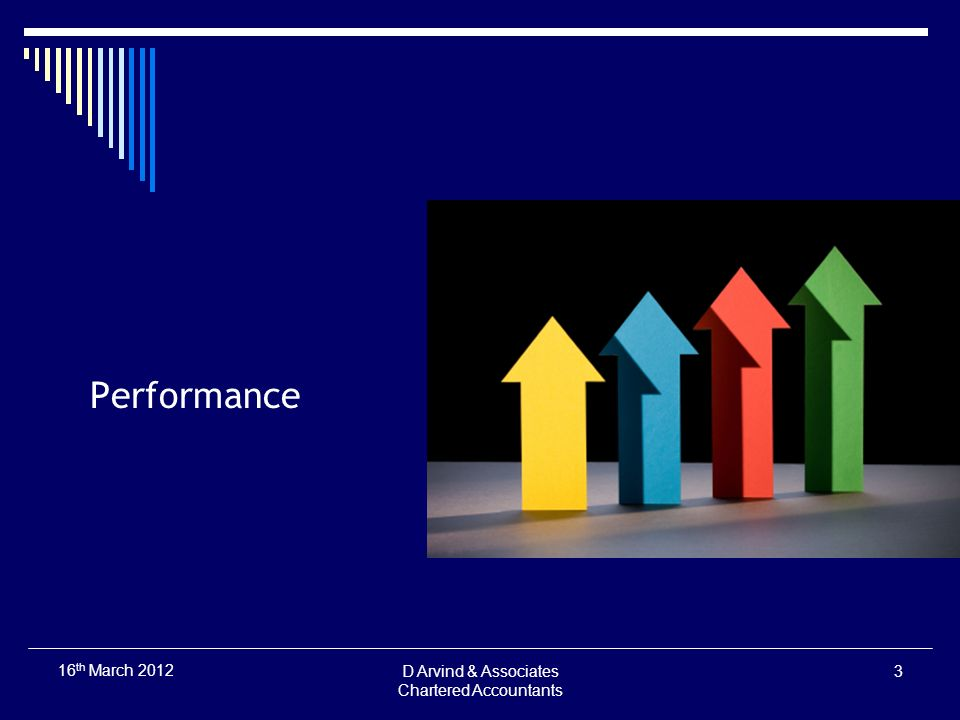 Performance D Arvind & Associates Chartered Accountants 3 16 th March 2012