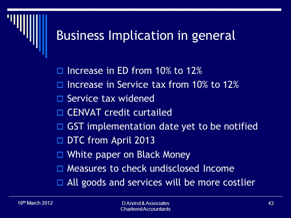 Business Implication in general Increase in ED from 10% to 12% Increase in Service tax from 10% to 12% Service tax widened CENVAT credit curtailed GST