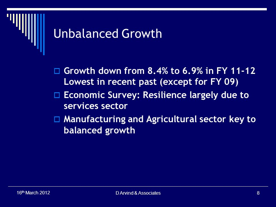 Unbalanced Growth Growth down from 8.4% to 6.9% in FY 11-12 Lowest in recent past (except for FY 09) Economic Survey: Resilience largely due to servic