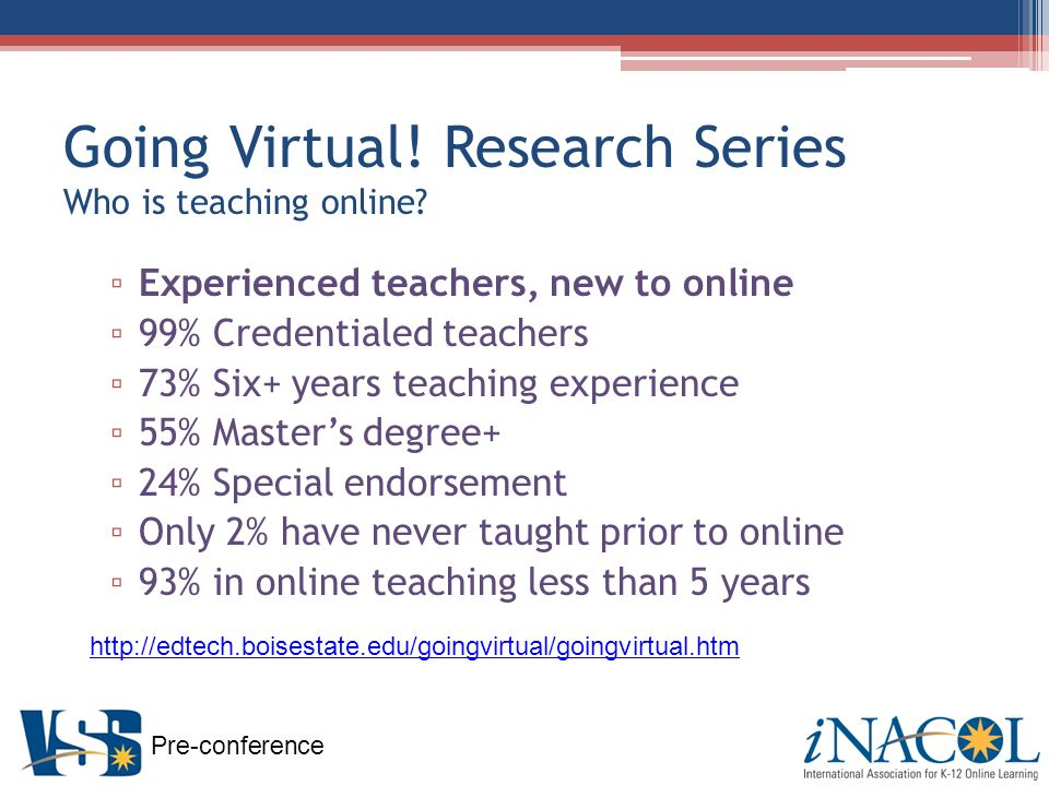 Pre-conference Going Virtual. Research Series Who is teaching online.