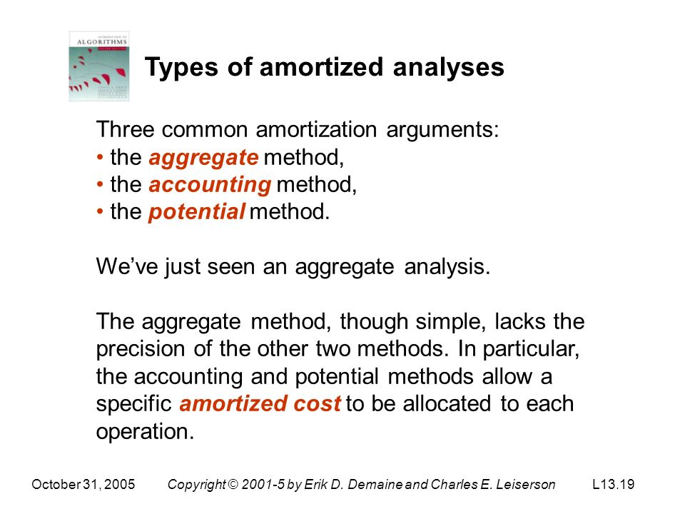 October 31, 2005Copyright © 2001-5 by Erik D. Demaine and Charles E. LeisersonL13.19 Types of amortized analyses Three common amortization arguments: