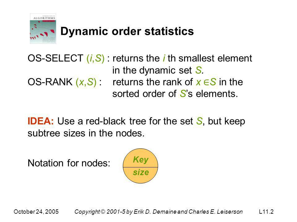 October 24, 2005Copyright © 2001-5 by Erik D. Demaine and Charles E. LeisersonL11.2 Dynamic order statistics OS-SELECT (i,S) : returns the i th smalle
