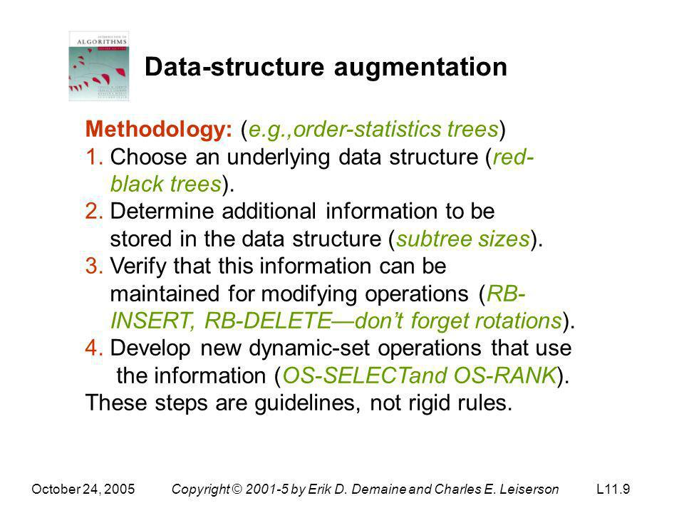 October 24, 2005Copyright © 2001-5 by Erik D. Demaine and Charles E. LeisersonL11.9 Data-structure augmentation Methodology: (e.g.,order-statistics tr