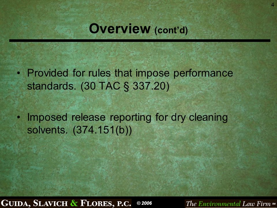 5 Definitions Release (374.001(13)) Dry Cleaning Facility (374.001(7)) Dry Cleaning Solvent (374.001(8)) Contaminated Dry Cleaning Site (374.203(a)) Owner (374.001(12)) Fund (374.001(11)) Corrective Action (374.001(4)) –Also definitions in regulations (30 TAC Ch.