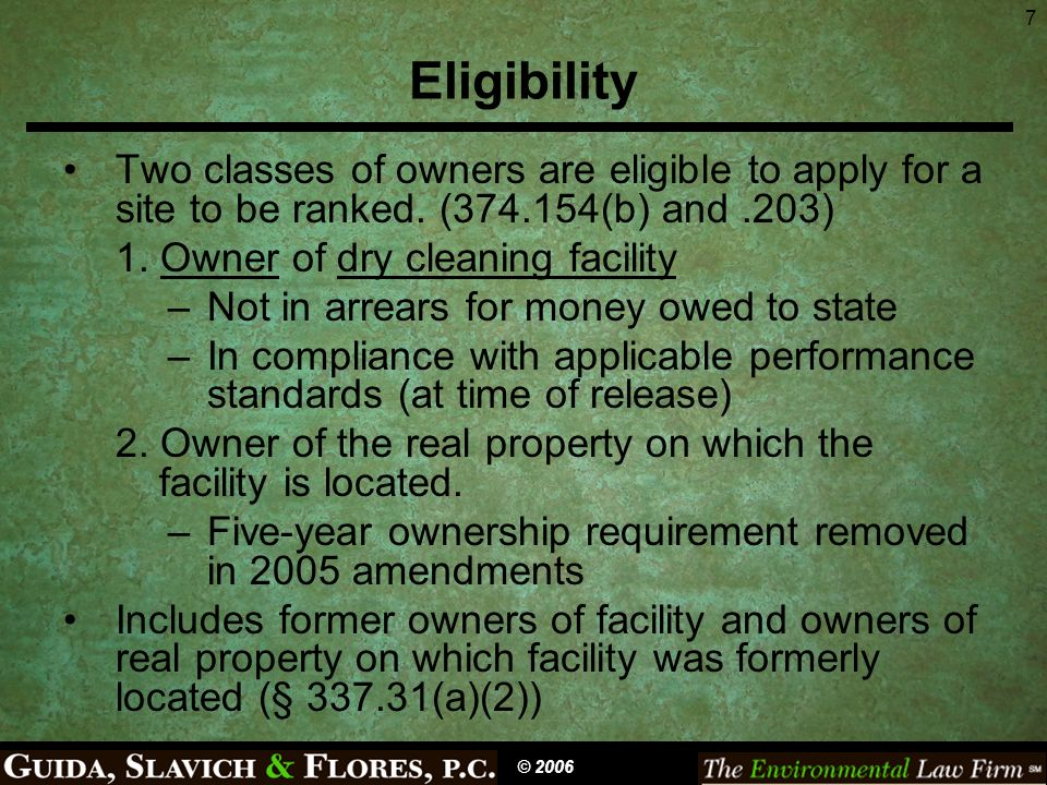 8 Site Ranking (374.154; § 337.31) An eligible person must submit a ranking application to be eligible for State cleanup (374.203(c)) Non-emergency sites are ranked in order of relative significance (374.154(a)) Deductible of $5,000 per site must be met (374.203(a)) © 2006