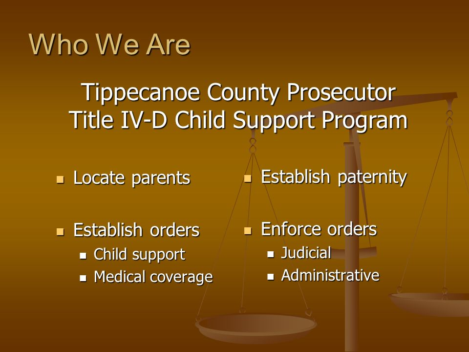 Who We Are Locate parents Locate parents Establish orders Establish orders Child support Child support Medical coverage Medical coverage Establish pat