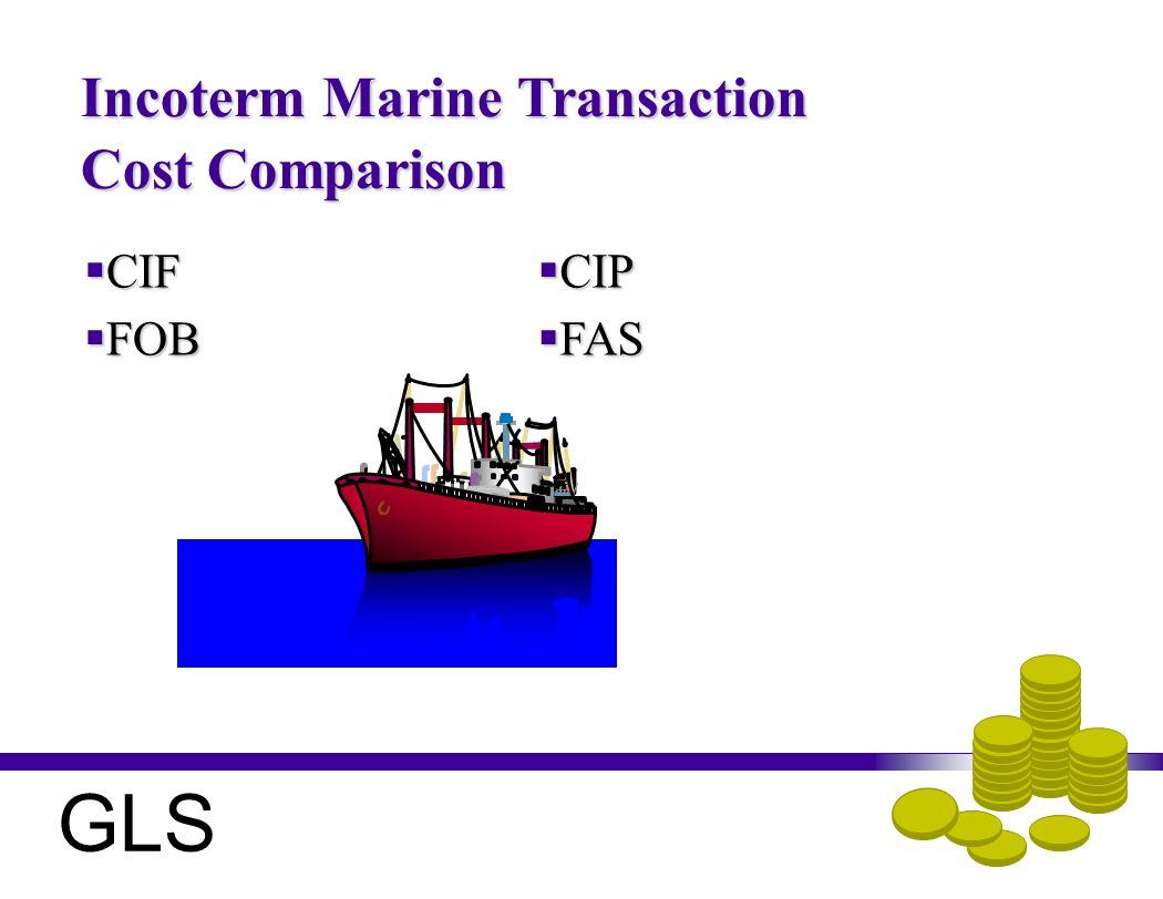 Incoterm Marine Transaction Cost Comparison CIF CIF FOB FOB CIP CIP FAS FAS GLS