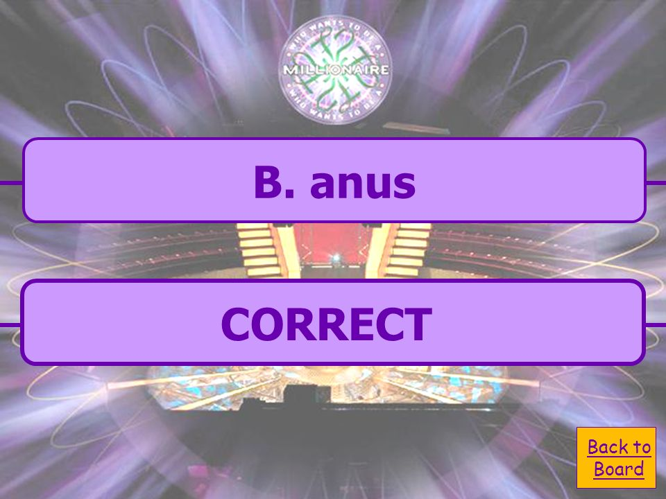A. cecum C. rectum B. anus D. small intestine The opening of the large intestine is called the:
