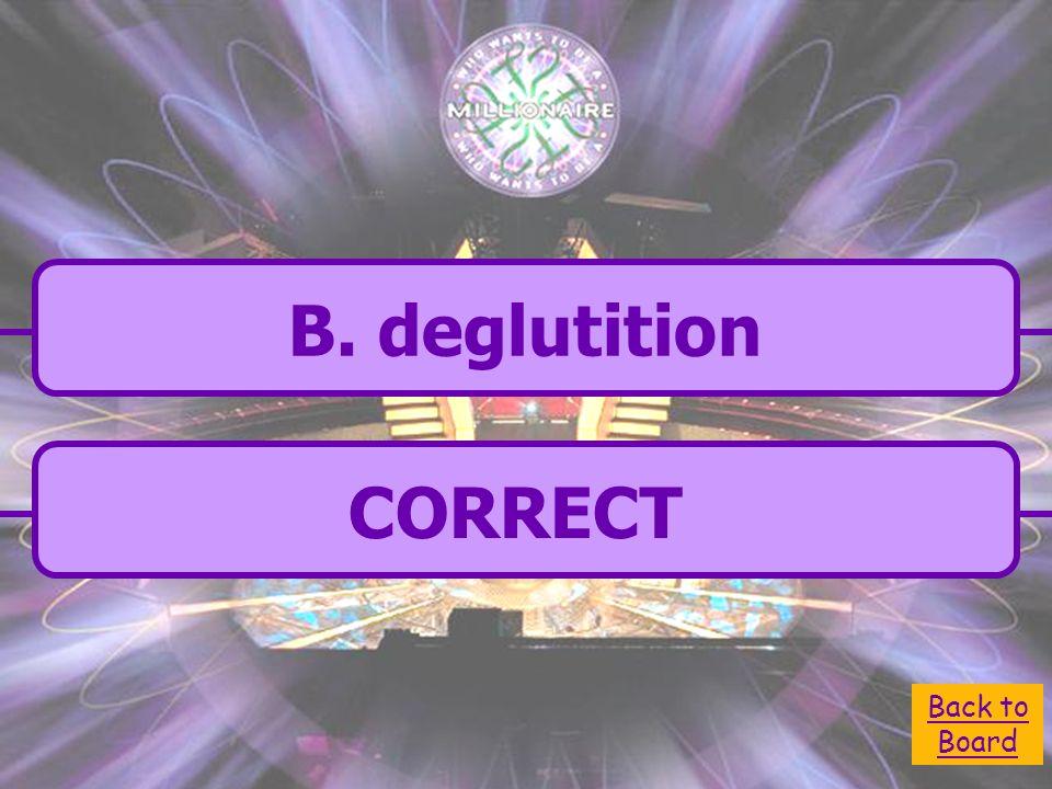 B. deglutition C. absorption A. defecation D.