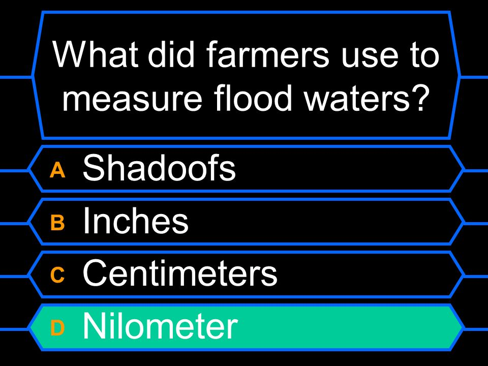 What did farmers use to measure flood waters? A Shadoofs B Inches C Centimeters D Nilometer