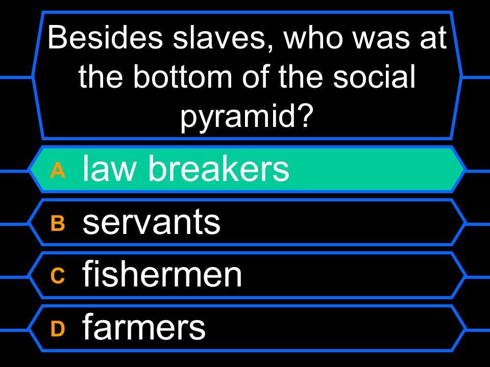 Besides slaves, who was at the bottom of the social pyramid? A law breakers B servants C fishermen D farmers