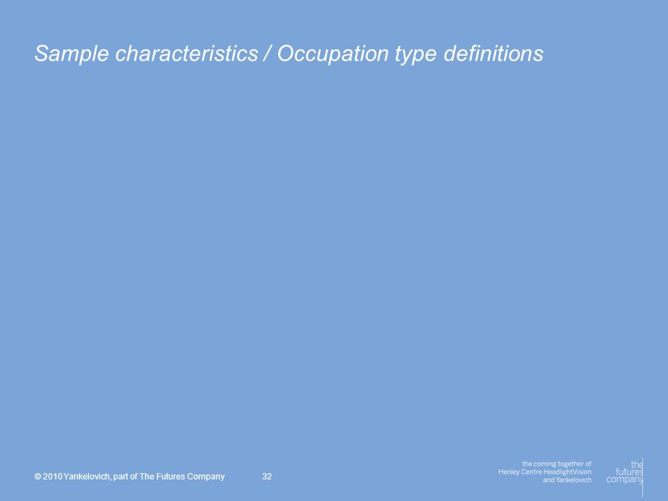 © 2010 Yankelovich, part of The Futures Company 32 Sample characteristics / Occupation type definitions