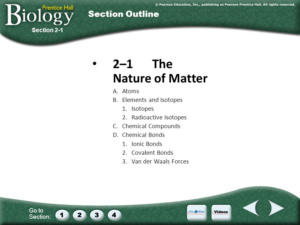 Go to Section: 2–1The Nature of Matter A.Atoms B.Elements and Isotopes 1.Isotopes 2.Radioactive Isotopes C.Chemical Compounds D.Chemical Bonds 1.Ionic Bonds 2.Covalent Bonds 3.Van der Waals Forces Section 2-1 Section Outline