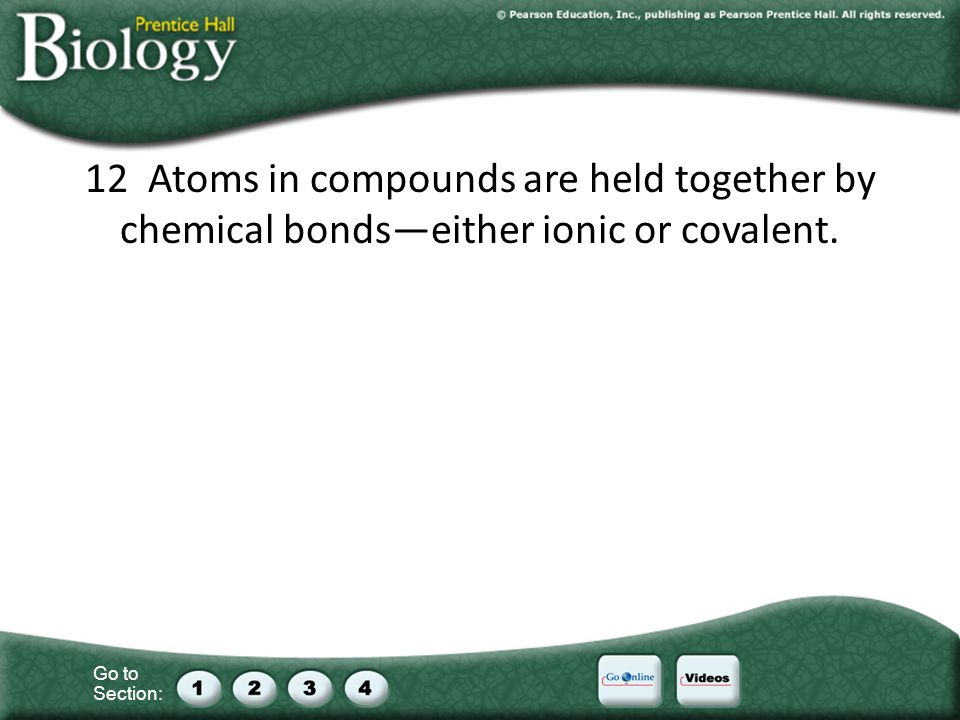 Go to Section: 12 Atoms in compounds are held together by chemical bondseither ionic or covalent.