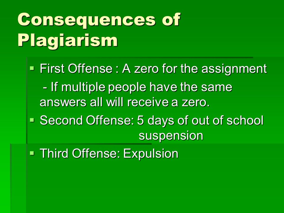 Consequences of Plagiarism First Offense : A zero for the assignment First Offense : A zero for the assignment - If multiple people have the same answ