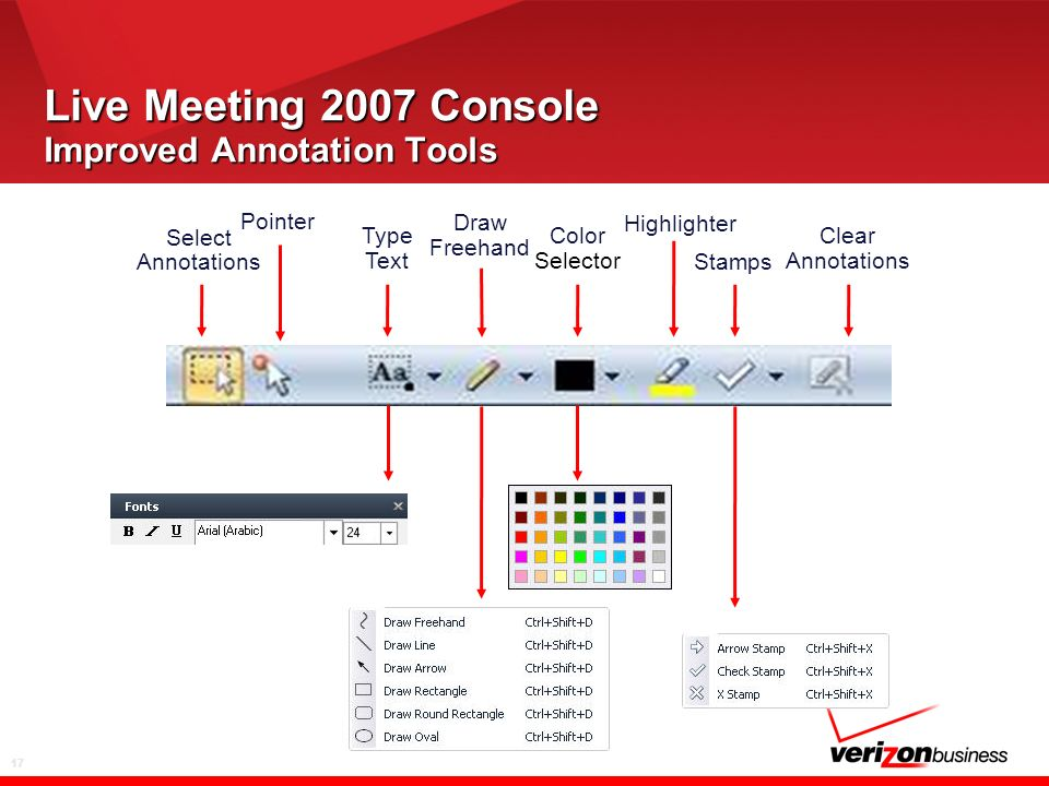17 Live Meeting 2007 Console Improved Annotation Tools Select Annotations Type Text Pointer Draw Freehand Highlighter Stamps Color Selector Clear Annotations