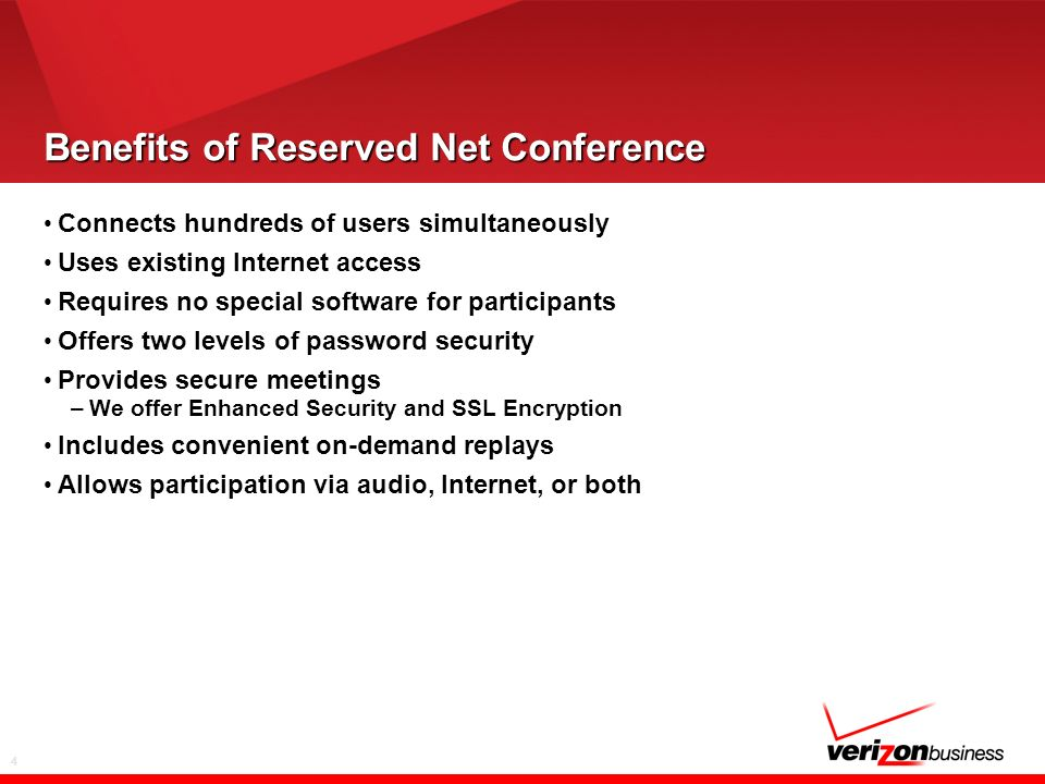 4 Benefits of Reserved Net Conference Connects hundreds of users simultaneously Uses existing Internet access Requires no special software for partici