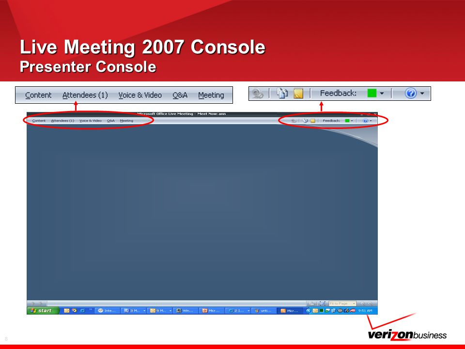 19 Live Meeting 2007 Console Feedback and Help Provide Feedback to the presenter to help control the pace of the meeting Use these on-line resources to Increase your proficiency with LM2007