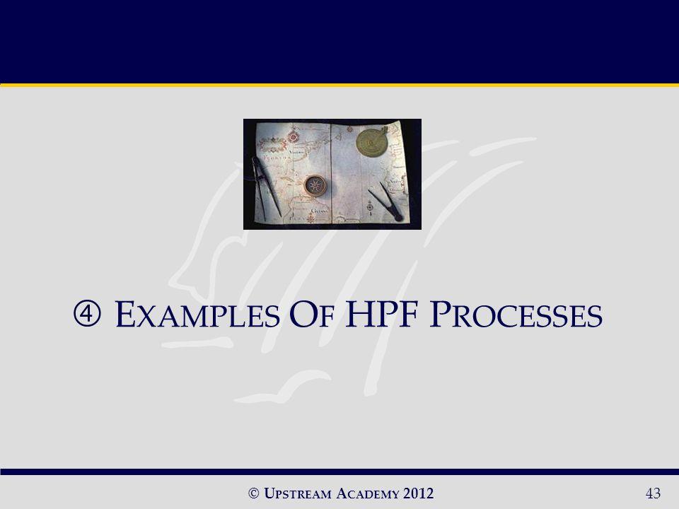 © U PSTREAM A CADEMY 201243 E XAMPLES O F HPF P ROCESSES