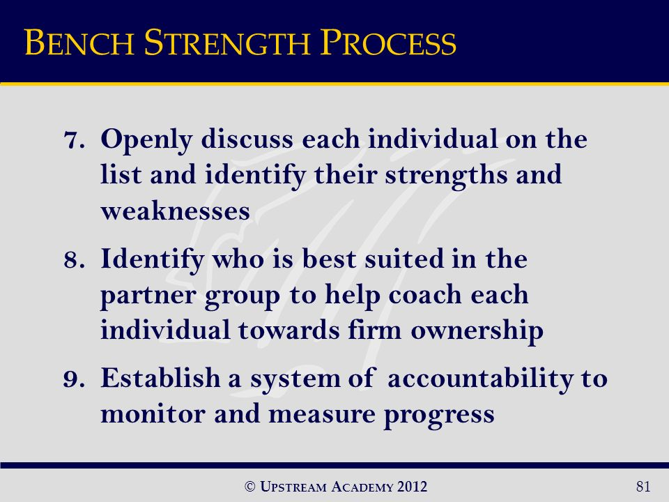 © U PSTREAM A CADEMY 201281 7.Openly discuss each individual on the list and identify their strengths and weaknesses 8.Identify who is best suited in the partner group to help coach each individual towards firm ownership 9.Establish a system of accountability to monitor and measure progress B ENCH S TRENGTH P ROCESS