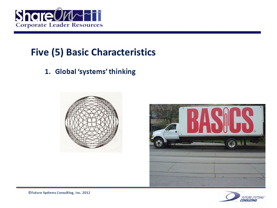 ©Future Systems Consulting, Inc. 2012 Five (5) Basic Characteristics 1.Global systems thinking