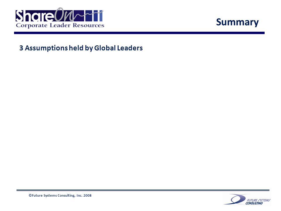 ©Future Systems Consulting, Inc. 2008 3 Assumptions held by Global Leaders Summary
