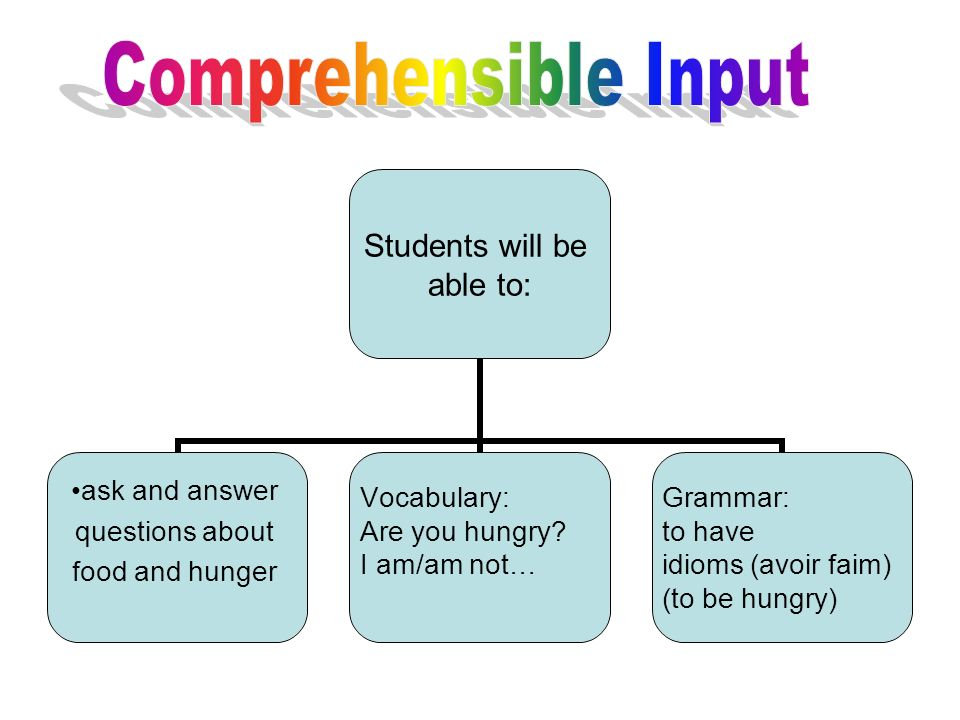 Students will be able to: ask and answer questions about food and hunger Vocabulary: Are you hungry? I am/am not… Grammar: to have idioms (avoir faim)