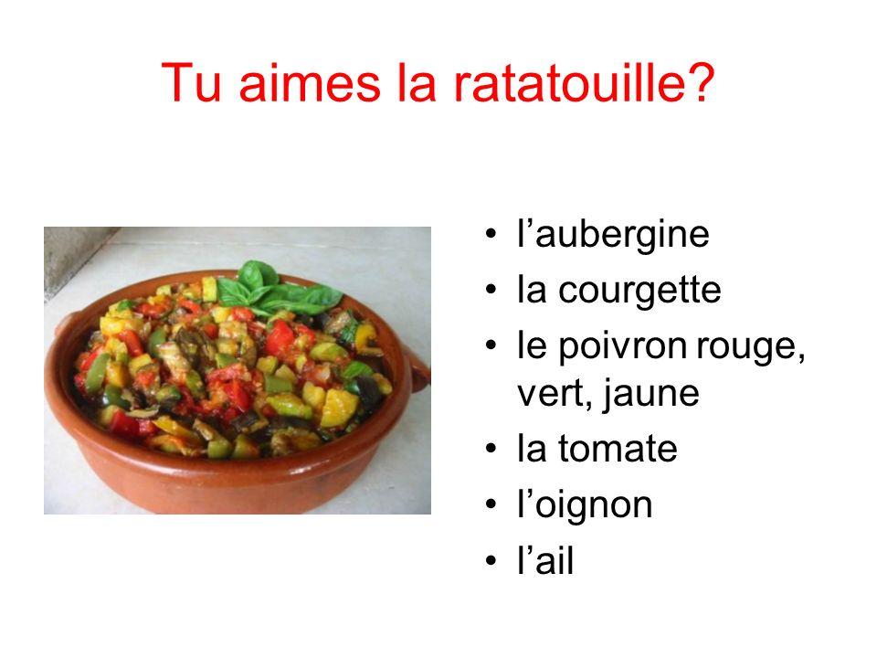 Tu aimes la ratatouille? laubergine la courgette le poivron rouge, vert, jaune la tomate loignon lail