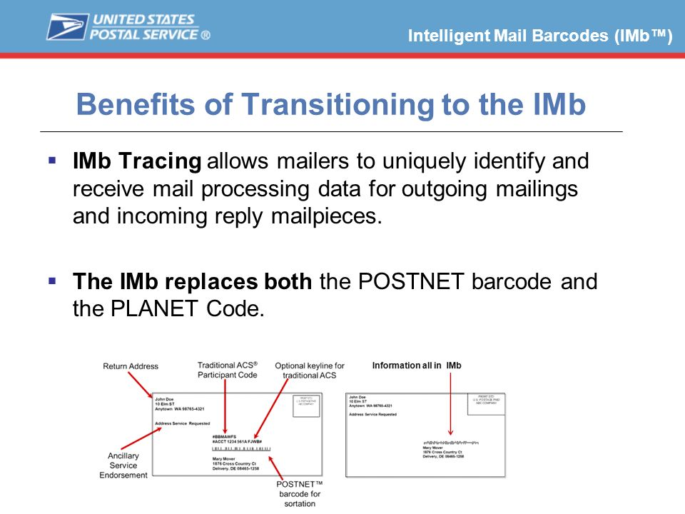 IMb Tracing allows mailers to uniquely identify and receive mail processing data for outgoing mailings and incoming reply mailpieces. The IMb replaces