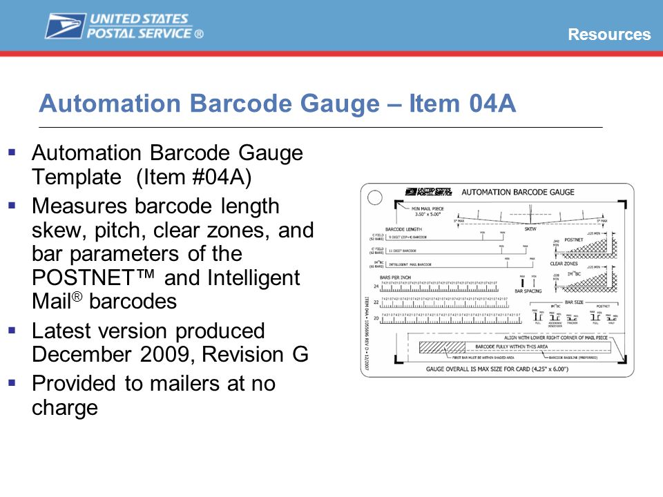Automation Barcode Gauge – Item 04A Automation Barcode Gauge Template (Item #04A) Measures barcode length skew, pitch, clear zones, and bar parameters