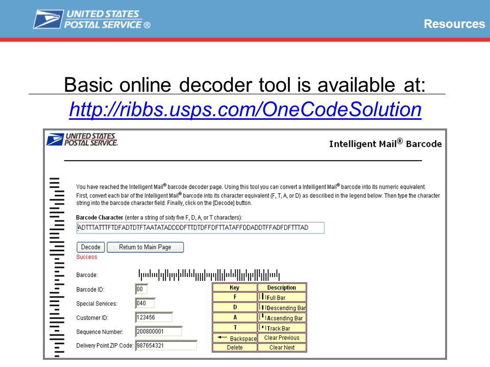 Basic online decoder tool is available at: http://ribbs.usps.com/OneCodeSolution Resources