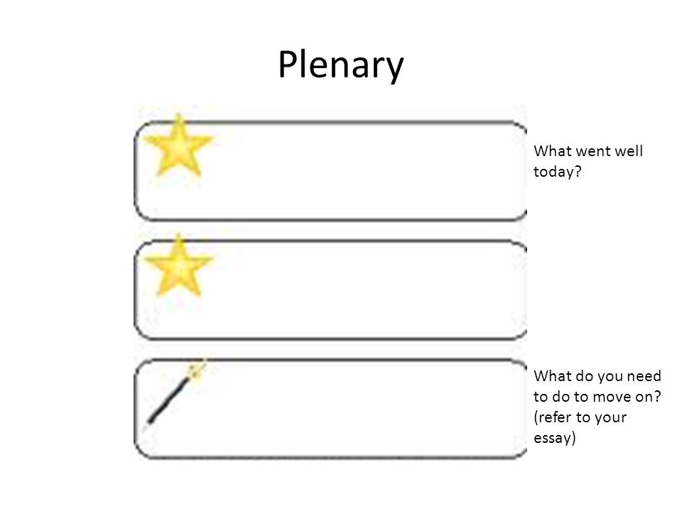 Plenary What went well today What do you need to do to move on (refer to your essay)